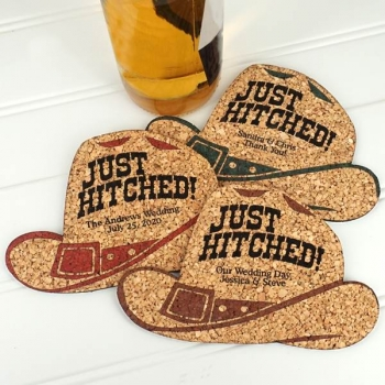 Personalized Cowboy Hat-Shaped Cork Coaster | Favors with Flair!